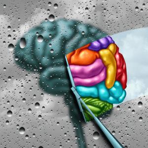 Graues Gehirn, das von einem Regenwischer wieder bunt gewischt wird.