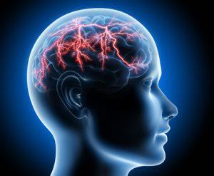Darstellung eines Gehirns, in dem rote Blitze aufleuchten.